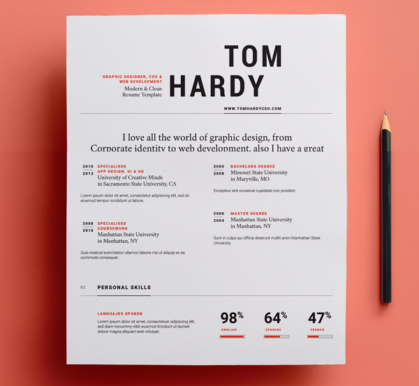 Graphic Resume Templates Piece Modern Resume Set Minimal Creative