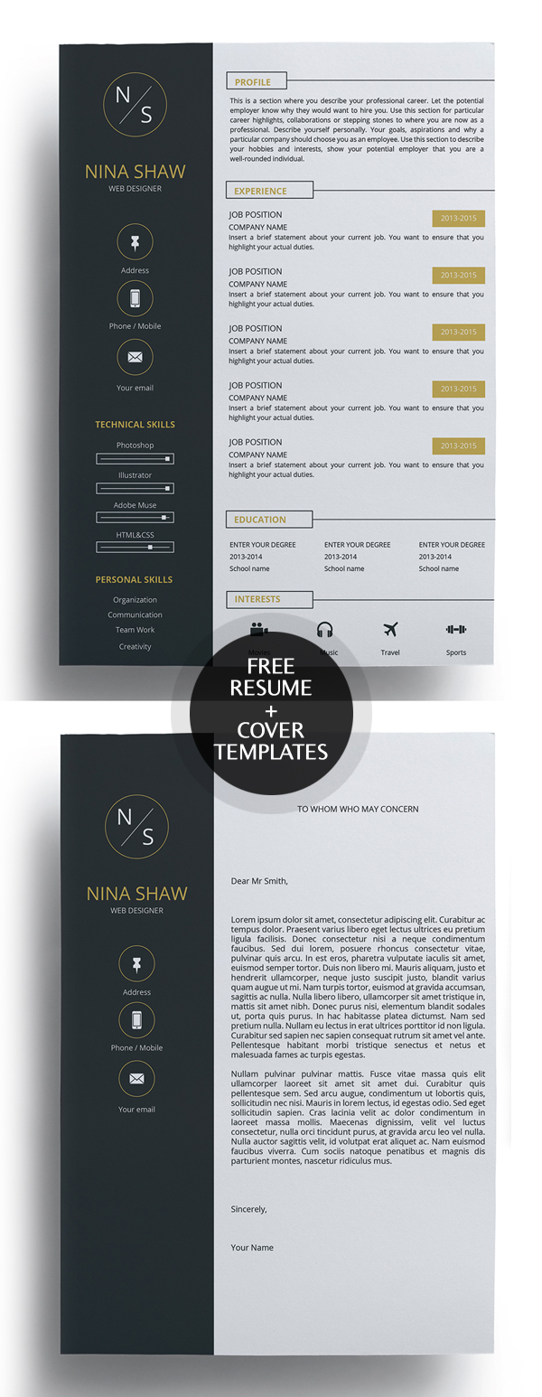 23 free creative resume templates with cover letter freebies free resume template and cover letter madrichimfo Images