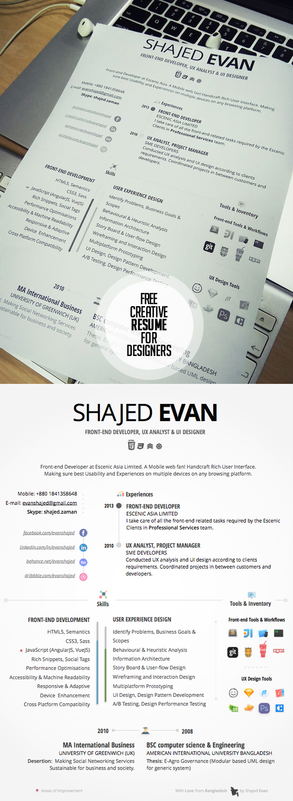 Free Creative Resume For Designers U0026 Developers  Creative Resume Templates Free Download