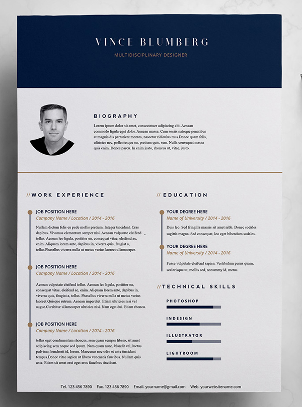 Elegant Free Resume Template U0026 Cover Letter Intended For Free Resume Design Templates