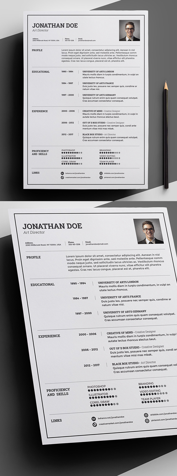 Free Minimal And Clean Resume Template  Creative Resume Template Free