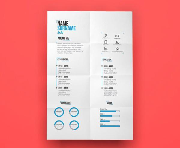 23 free creative resume templates with cover letter freebies free minimal resume template illustrated file yelopaper Images
