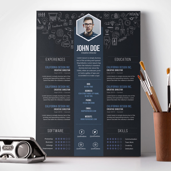 Free PSD : Creative Designer Resume Template PSD  Cool Resume Templates