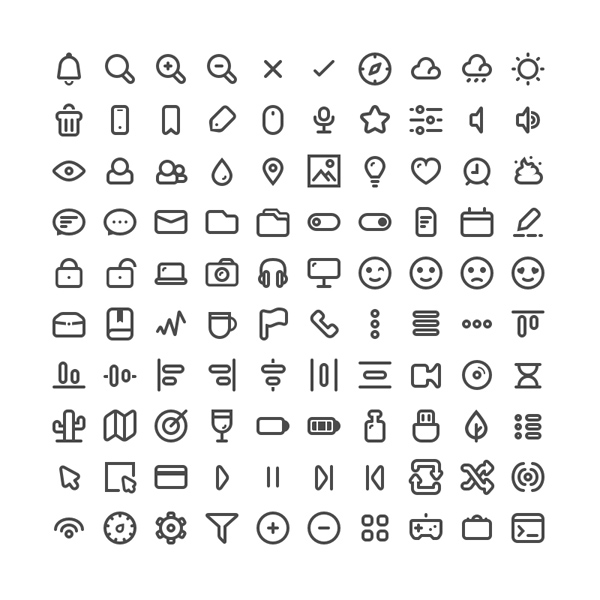Free Minimal Vector Icons (PNG, SVG, PDF and Sketch) - 100 Icons