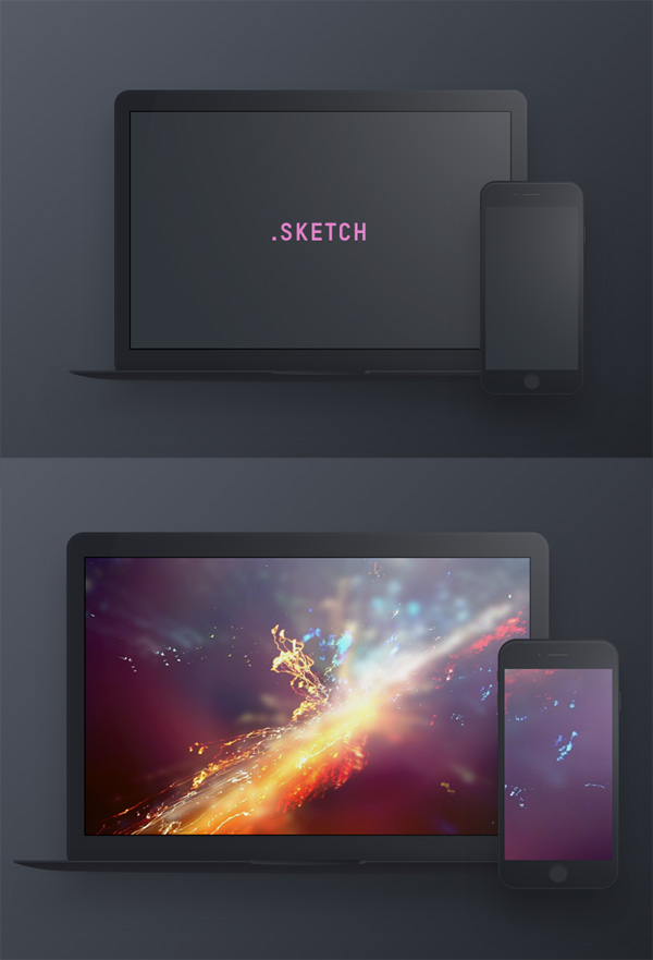 Dark Devices - Free Sketch Mockup