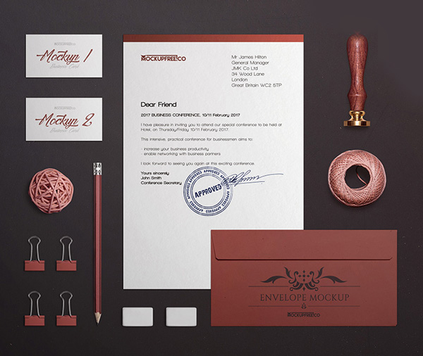Free Mockup Craft Stationery Branding