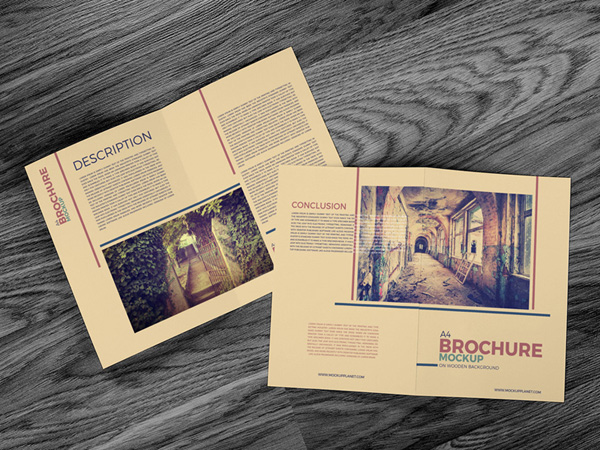 Free A4 Brochure Mockup on Wooden Background