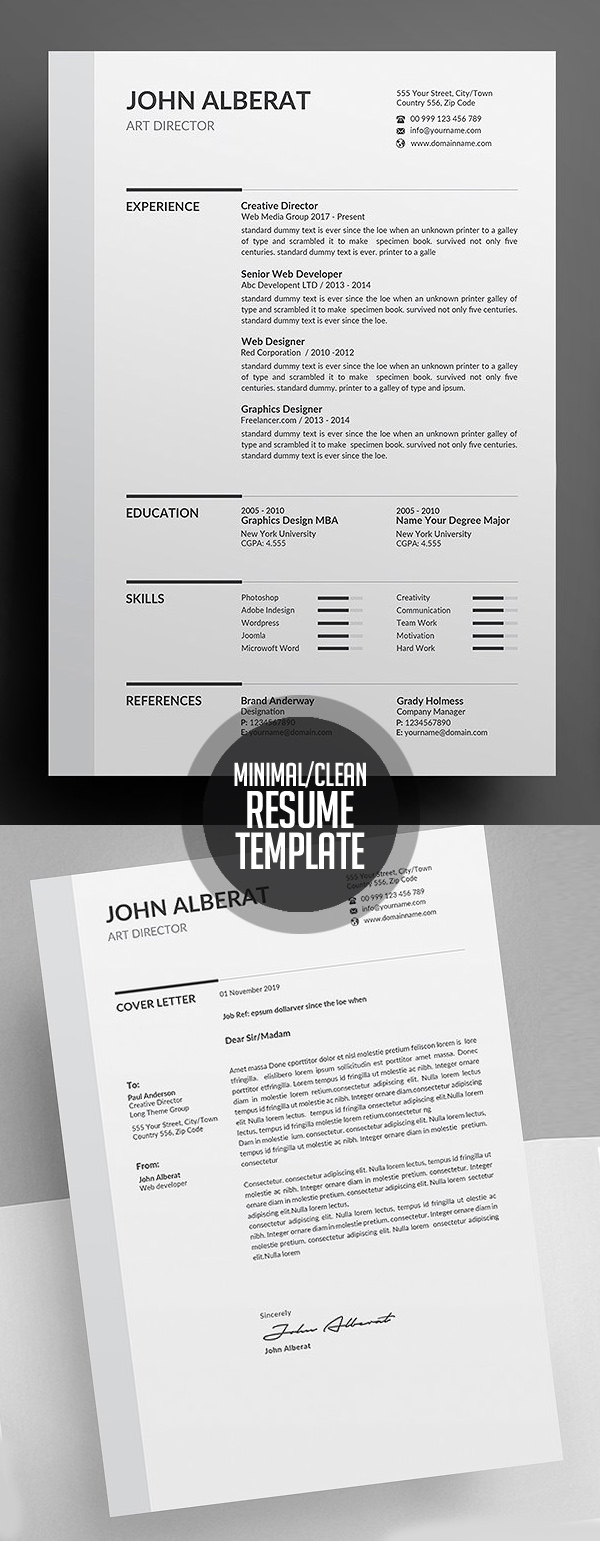Clean Resume/CV Template Design