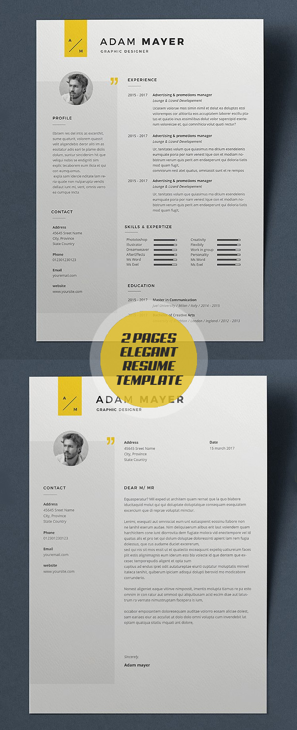 Elegant 2 Pages Resume Template and Cover Letter