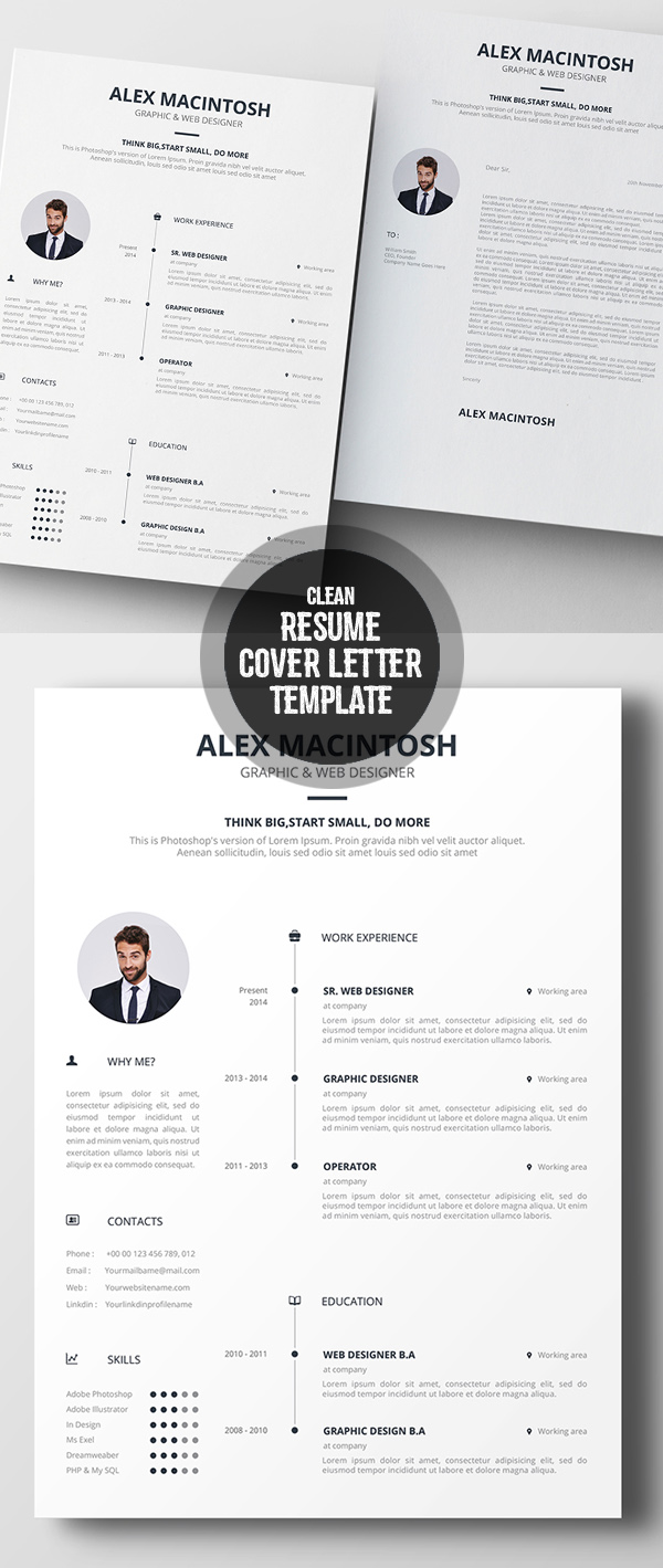 Clean Resume U0026 Cover Letter Template  Clean Resume Templates
