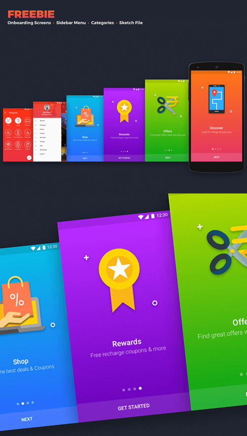Free Onboarding Screens UI PSD Template