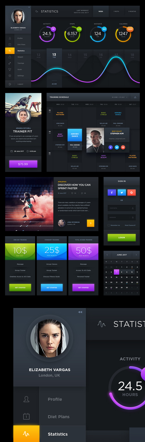Free Download Dark Sports UI Designs