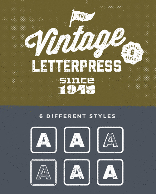Free Vintage Letterpress Text Effects