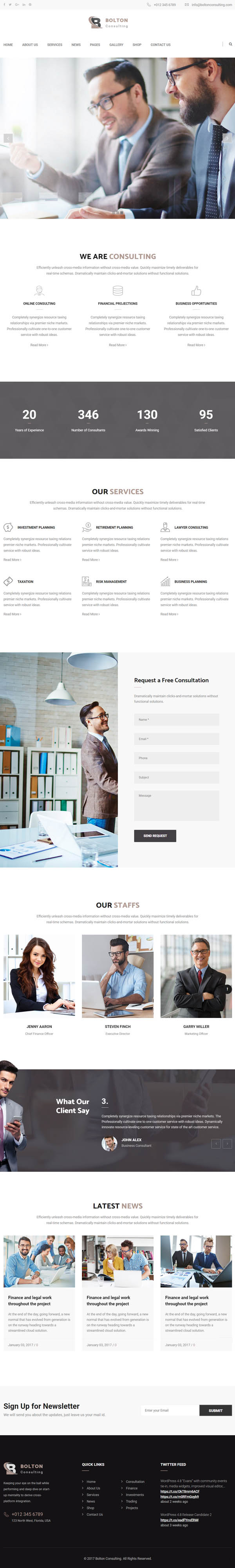 Bolton: Business Consulting and Professional Services WordPress Theme