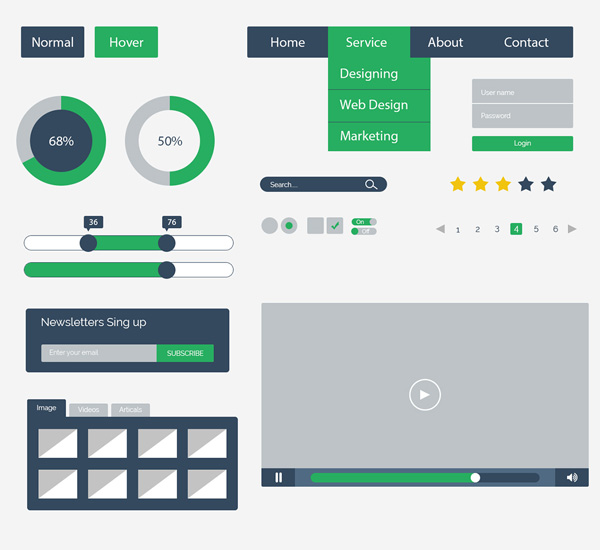 Free Flat UI Kit Design