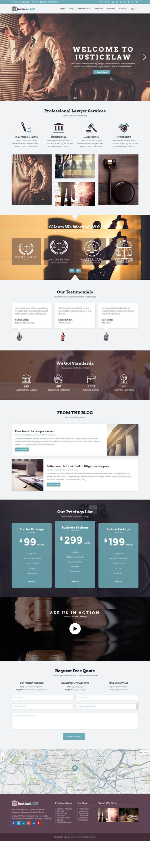 JusticeLAW : Corporate WordPress Theme for Lawyers Attorneys and Law Firms