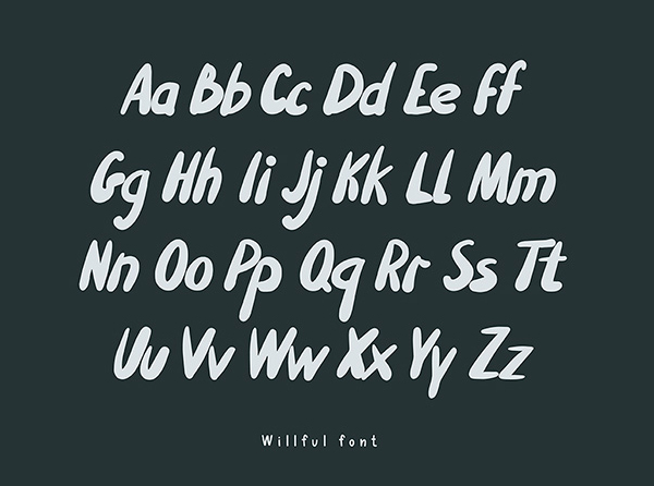 Willful Handwritten Brush free font letters