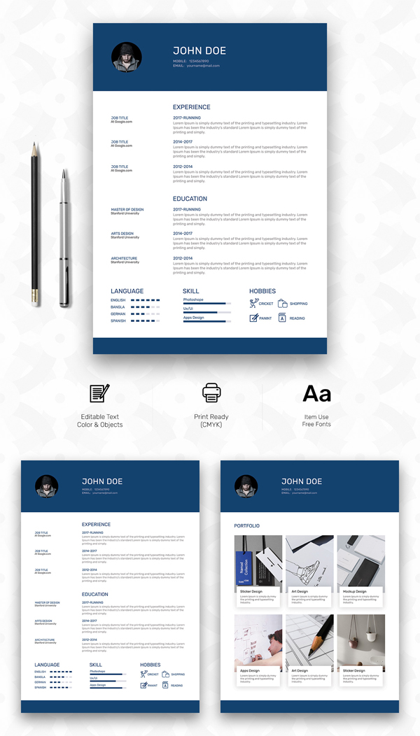 Free Personal Resume Template with Cover & Portfolio Pages