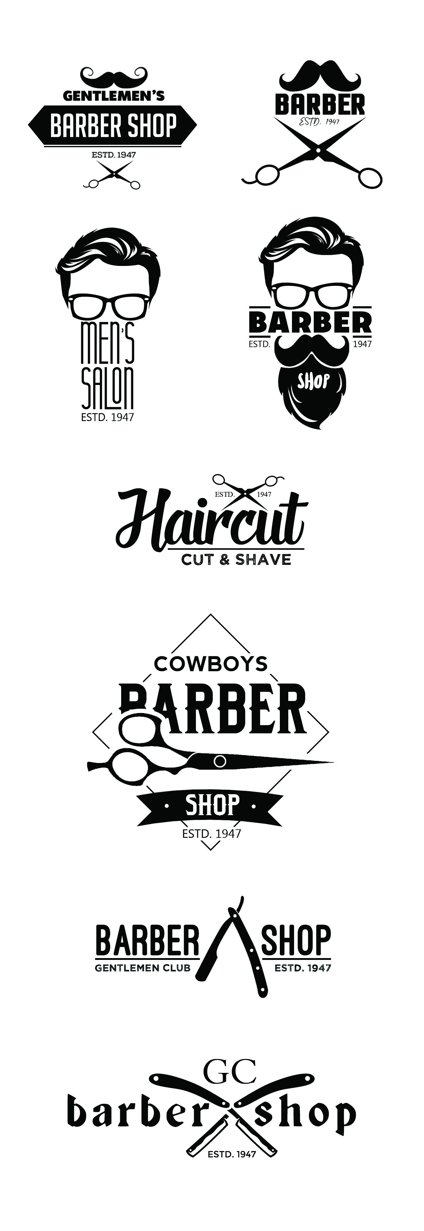 Free Vintage Barber Shop Logo Templates (PSD) | Freebies | Graphic ...