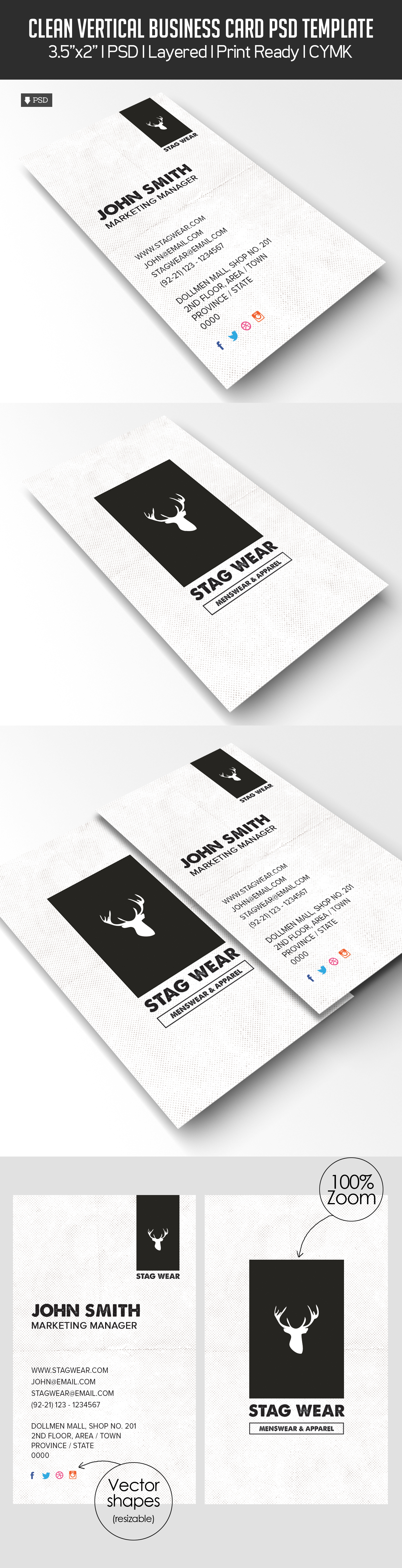 Freebie – Vertical Business Card PSD Template | Freebies | Graphic ...