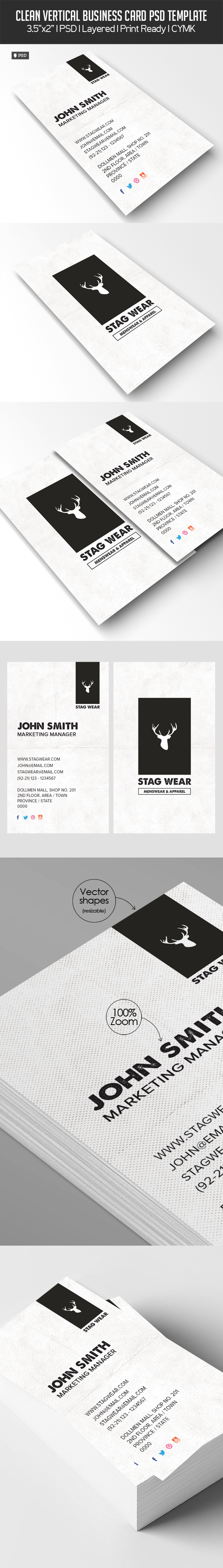 Freebie Vertical Business Card Psd Template
