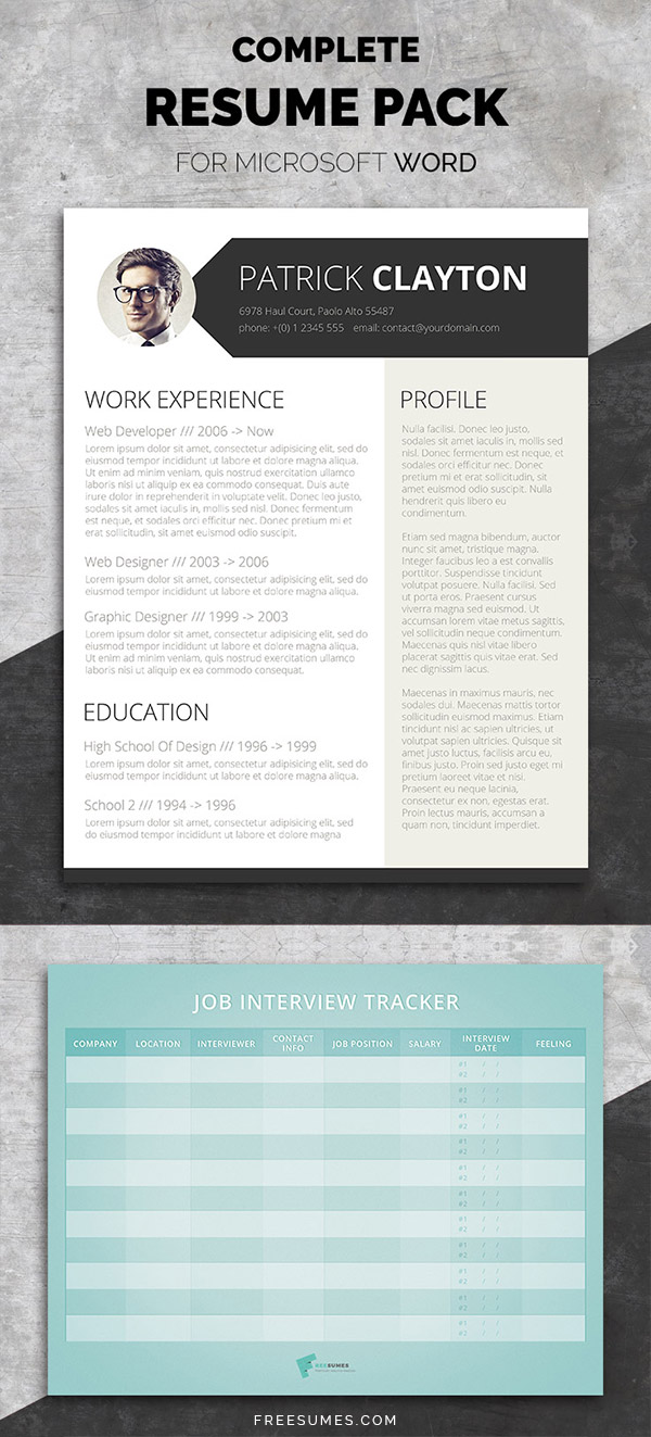 modern cv    resume templates with cover letter