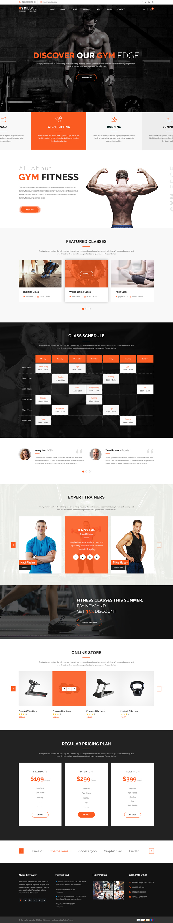 Gym Edge - Gym Fitness WordPress Theme