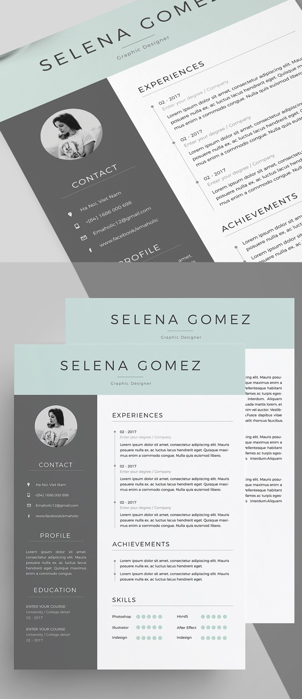 50 Best Resume Templates For 2018 Design Graphic Design Junction