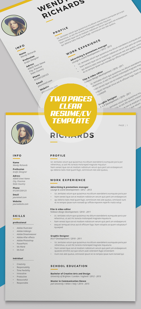 Minimal Clear Two Pages Resume CV Template