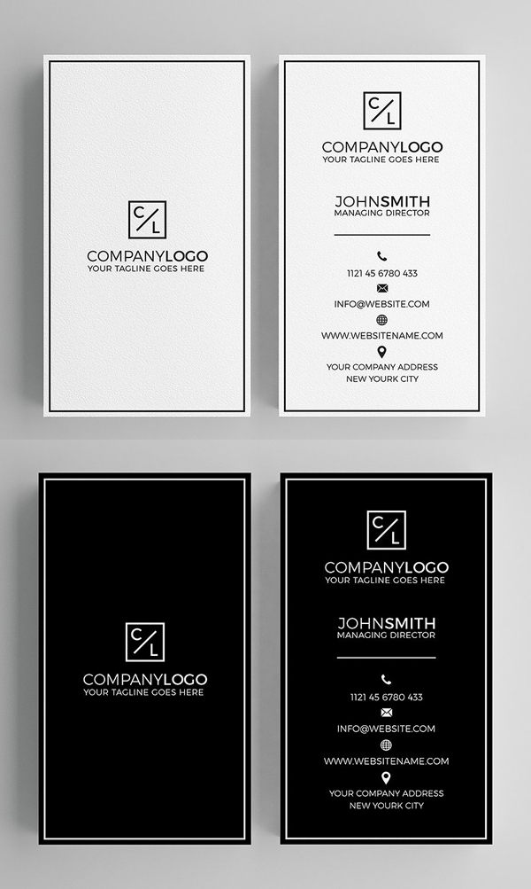 25 Minimal Clean Business Cards (PSD) Templates | Design | Graphic ...