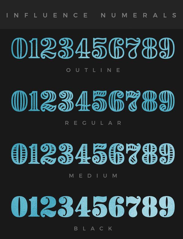 Influence Numerals Free Font