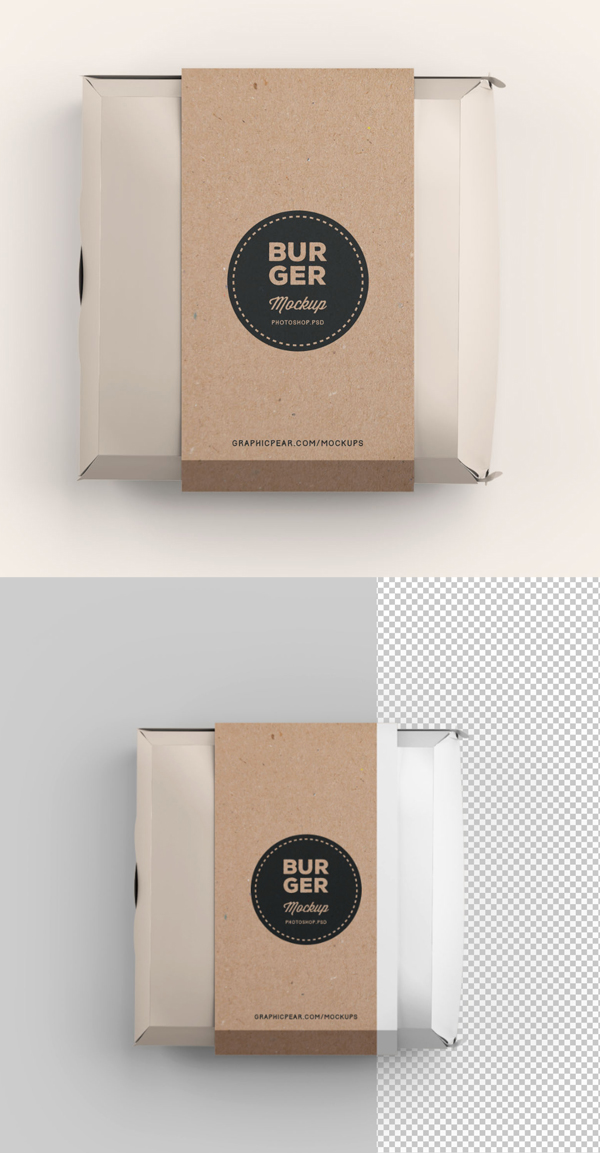 Free Burger Box Package Mockup Template