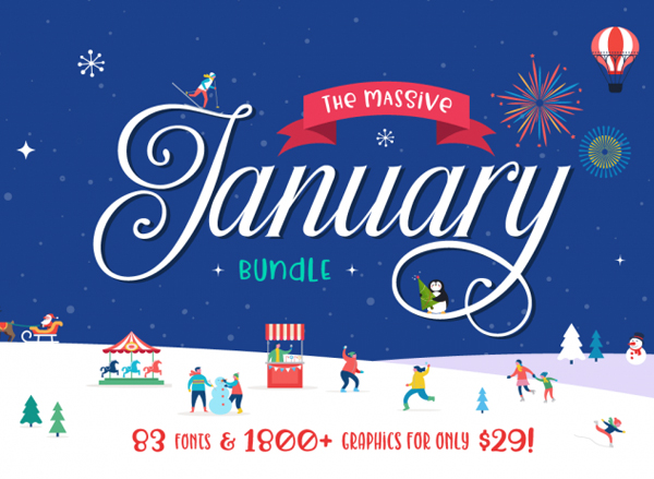 The Massive January Bundle (83 Fonts & 1800+ Handcrafted Graphics)