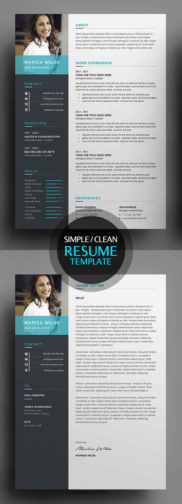 Clean Resume CV Template 2018