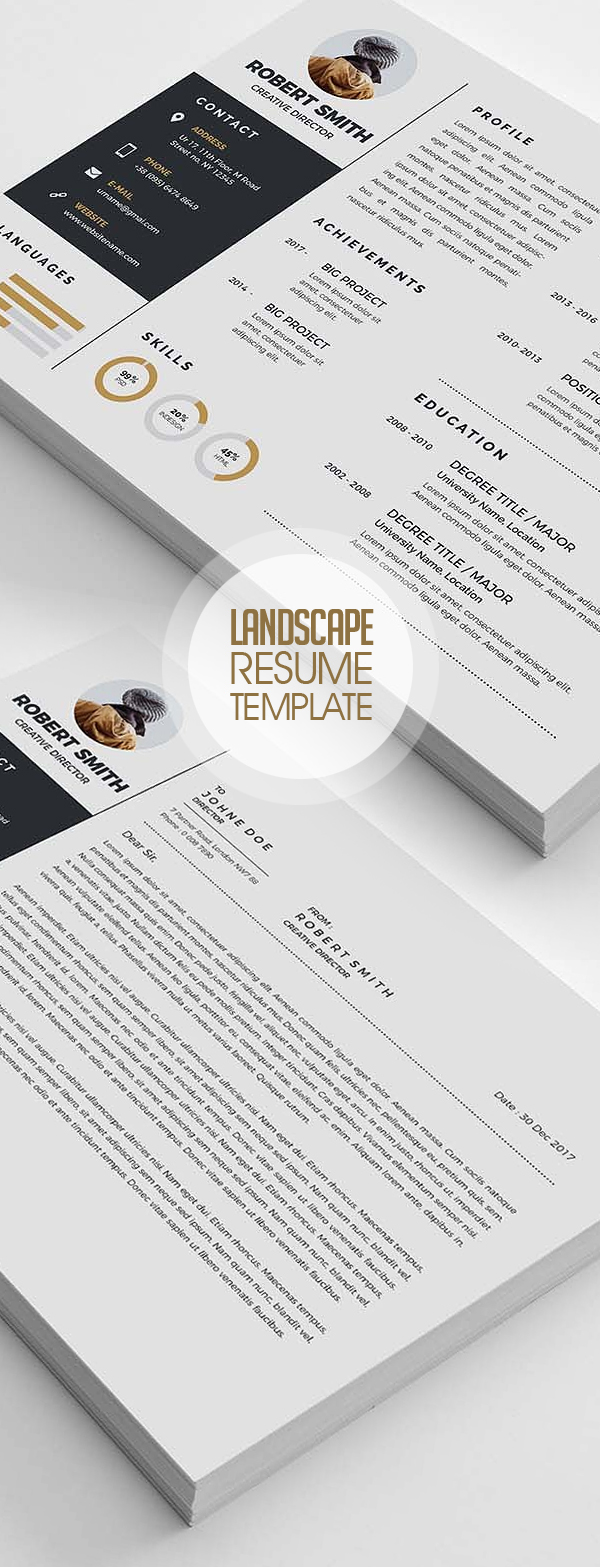 Creative Landscape Resume Template Design 2018