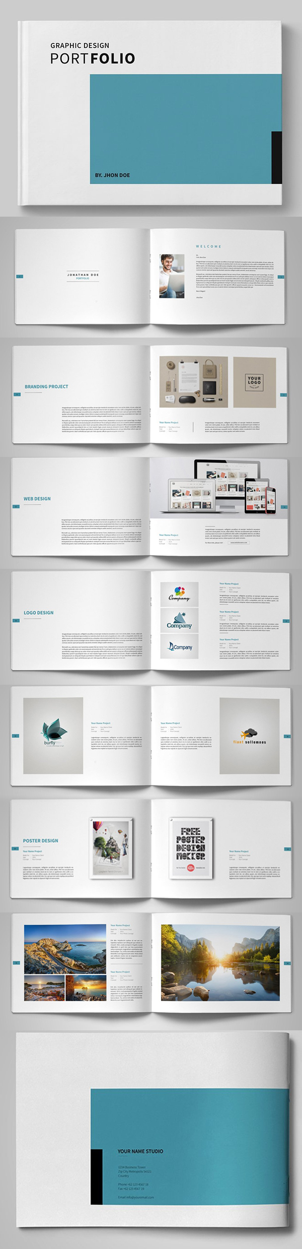 graphic design portfolio brochure template - Free Catalog Template