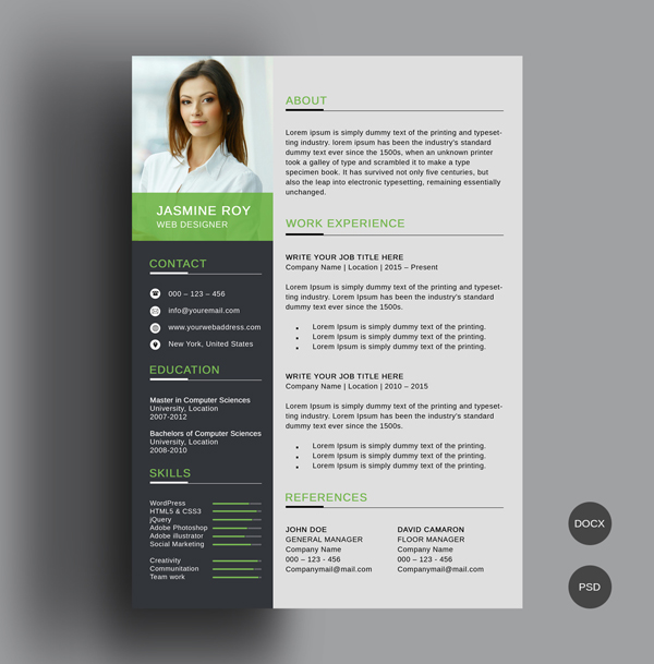 50 Free CV / Resume Templates – Best for 2019 | Design | Graphic ...