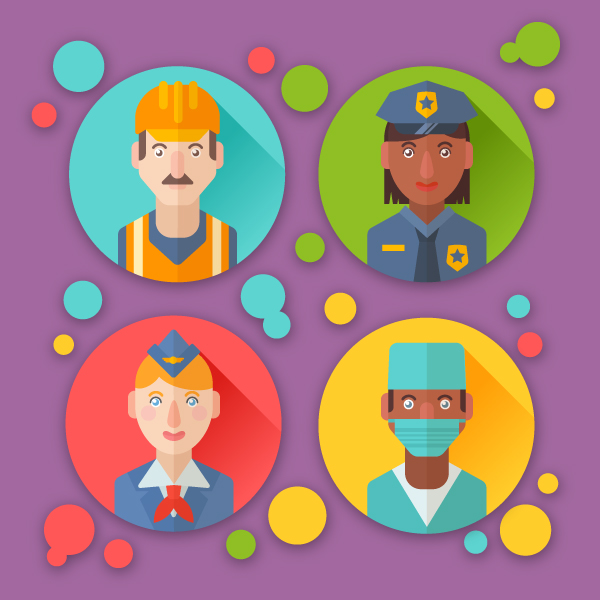 Free Flat Profession Avatars Icons Set