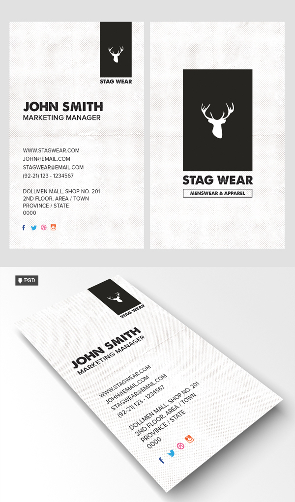 Free Vertical Business Card PSD Template