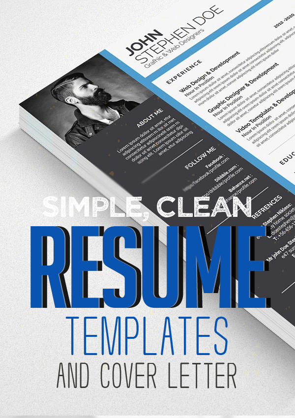 Fresh Simple, Clean Resume Templates and Cover Letter