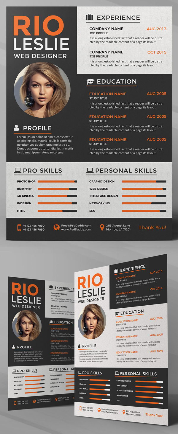 Freebie: Creative Resume CV PSD Template