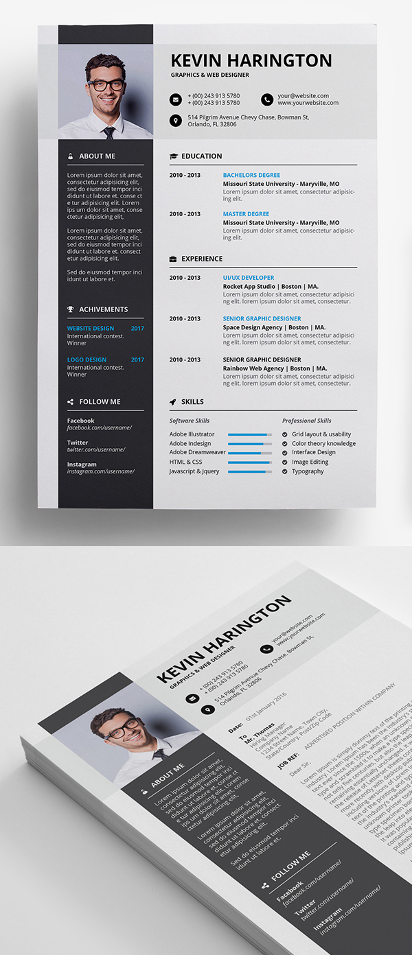 Freebie: Professional Resume + Coverletter Template