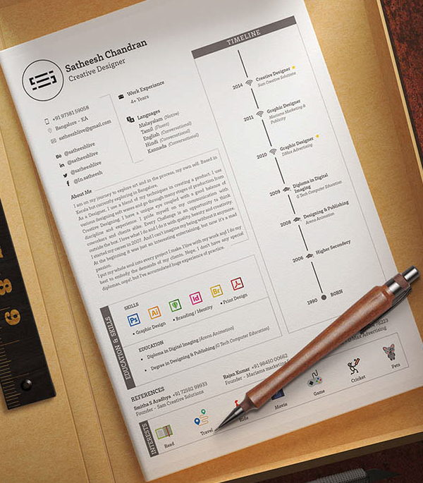 Freebie: Elegant Resume Template with Timeline Design