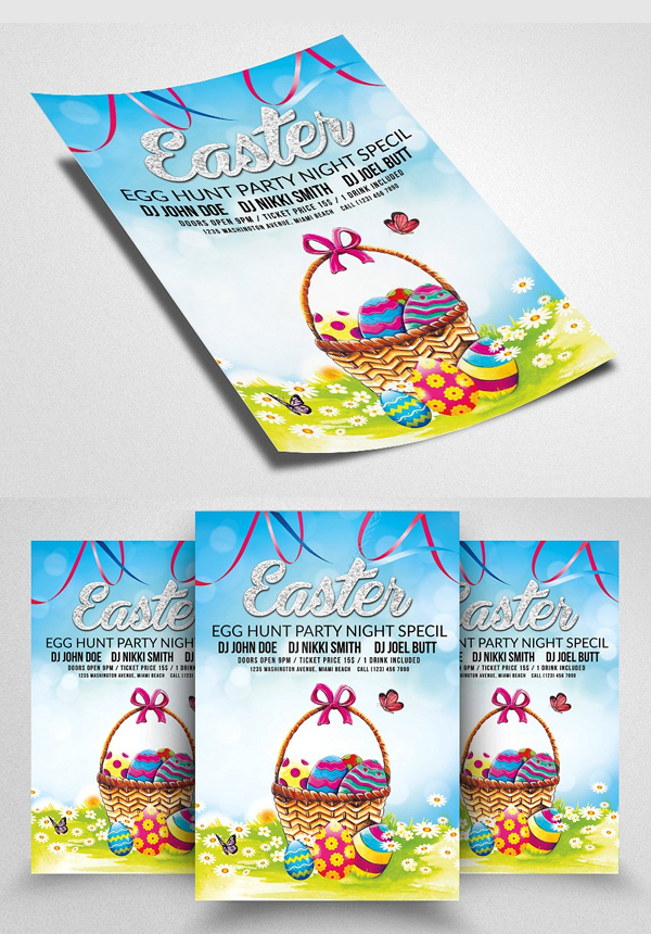 Easter Egg Hunt Flyer Print Template