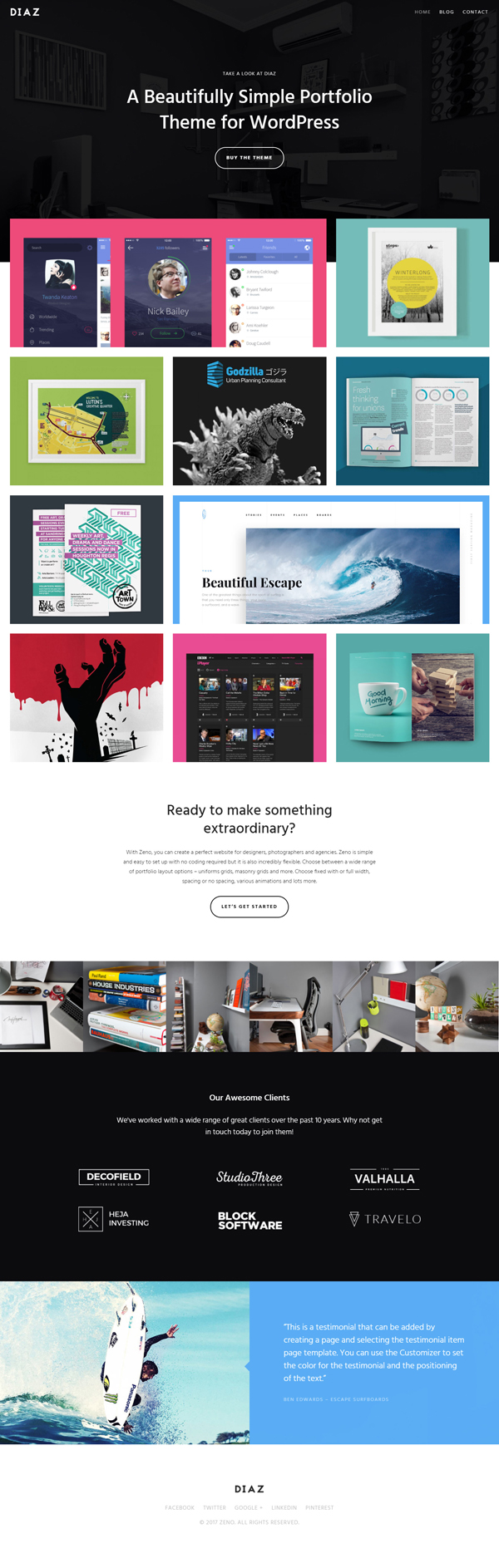 Diaz- A Lightweight WordPress Portfolio Theme