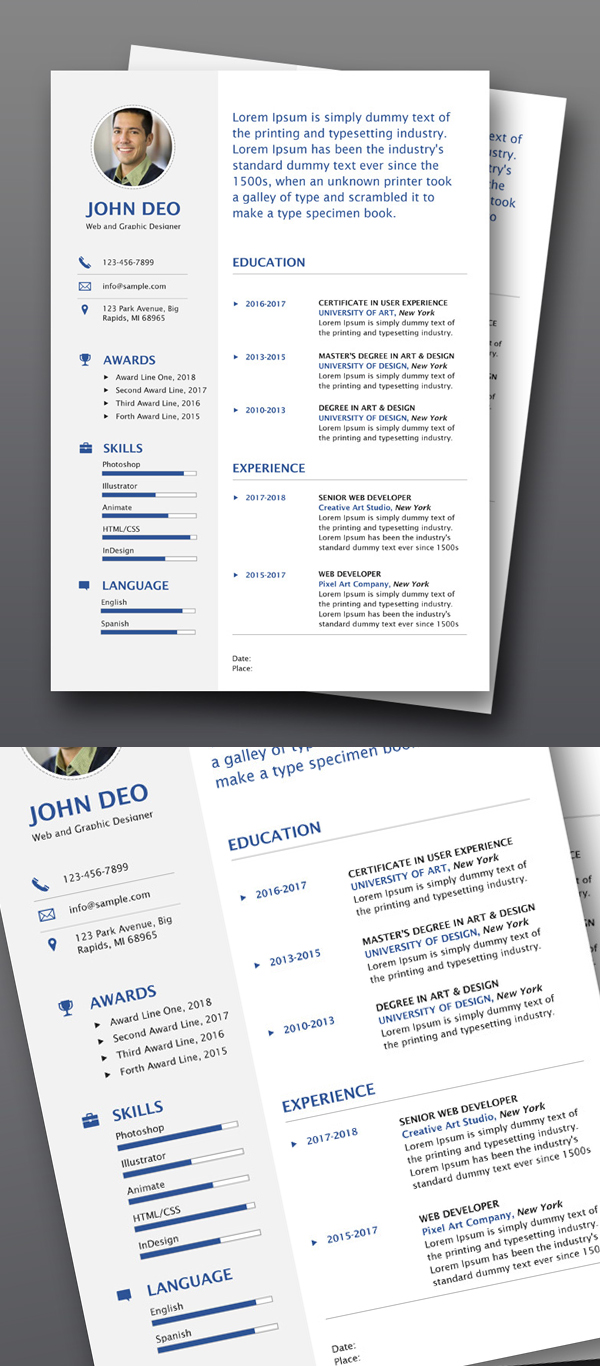 free simple clean resume templates