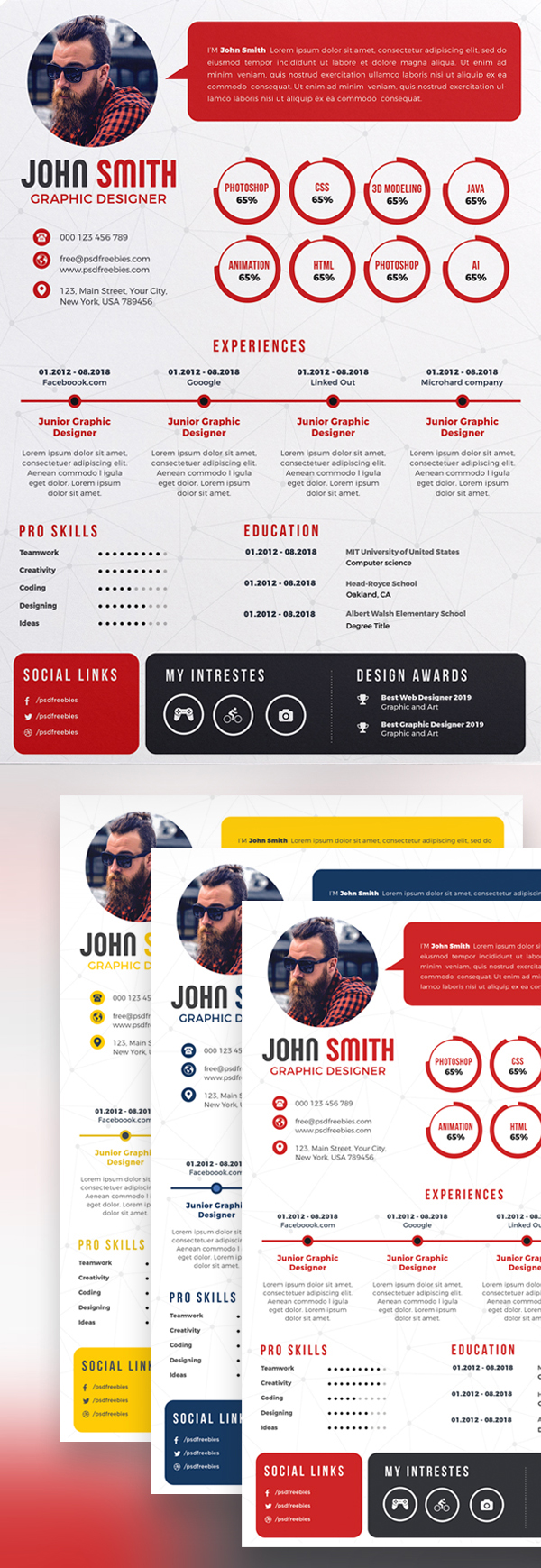 Freebie: Creative Resume CV PSD Bundle