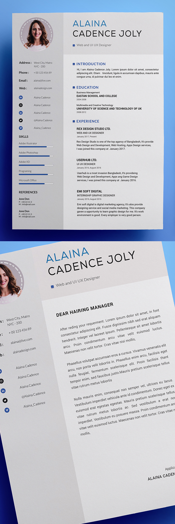 Freebie: Clean And Professional Resume With Cover Letter
