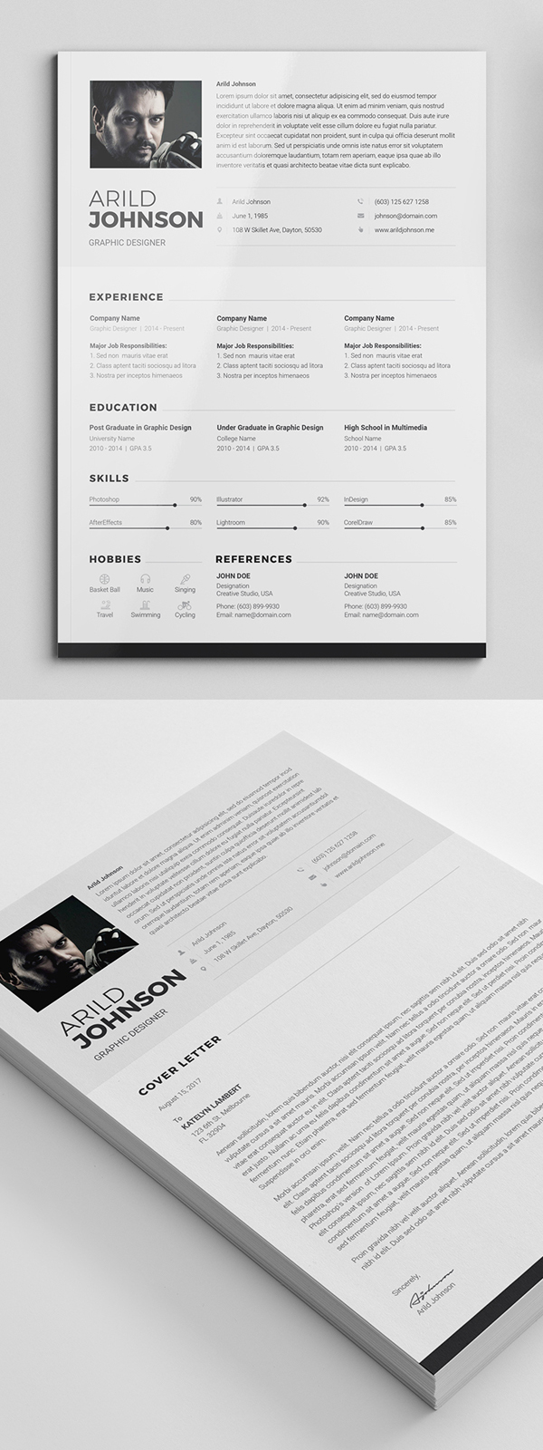 Freebie: Creative Simple Resume Template & Cover Letter