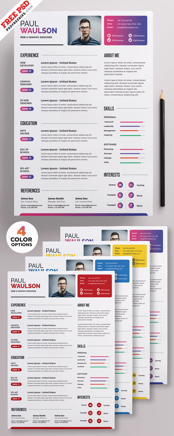 Freebie: Creative Resume Template PSD Set